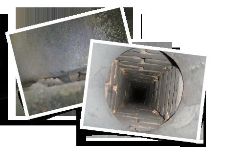 Joint de mortier dégradé à l'intérieur du conduit