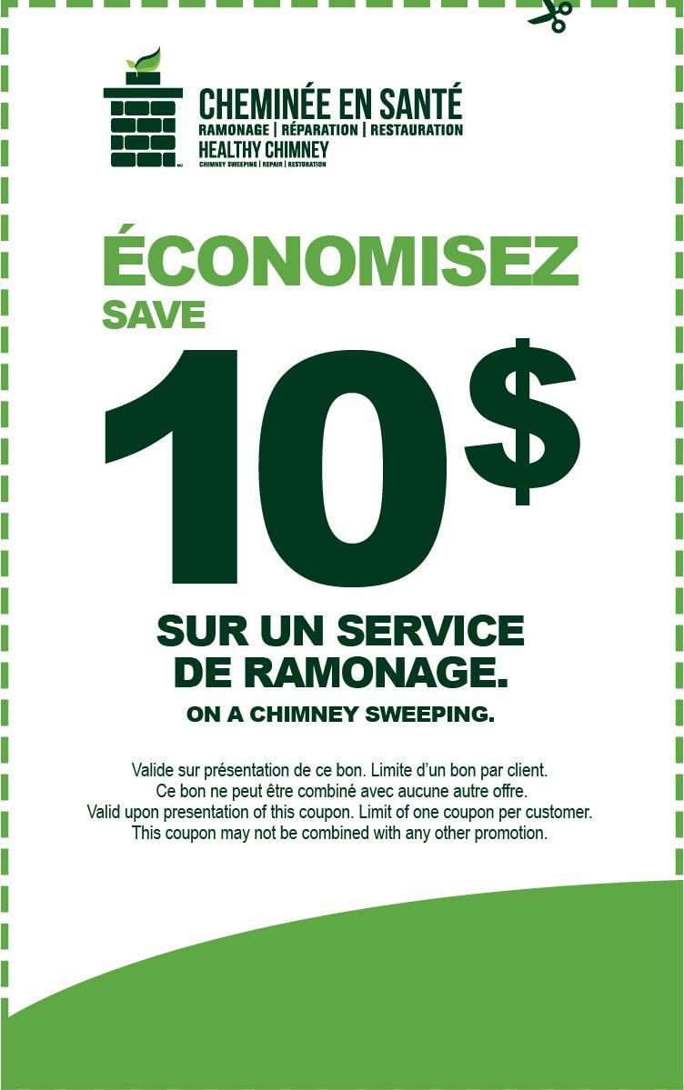Économisez 10$ sur un service de ramonage